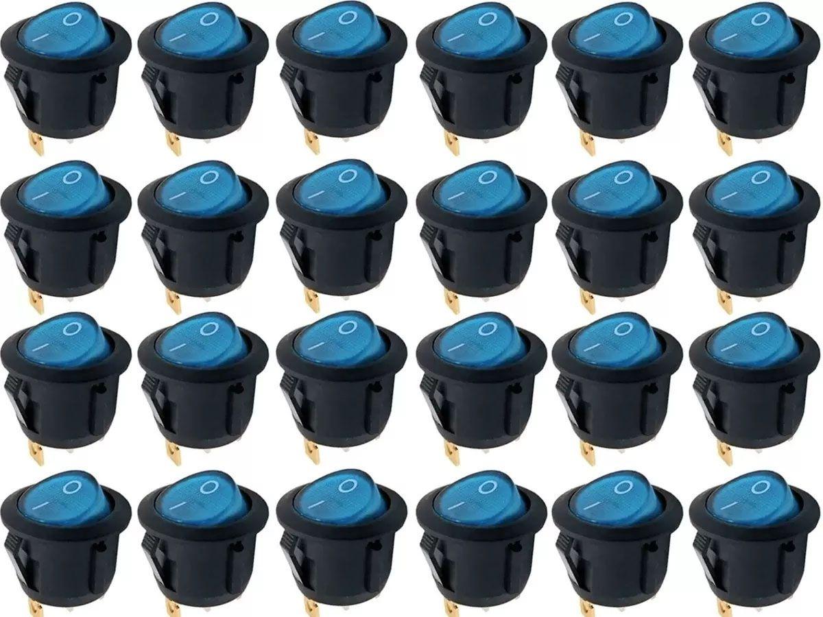 20pcs Chave Gangorra Luz Neon Azul 2 Posicoes Pacote Nova