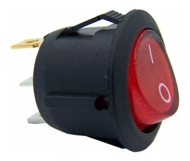 20pcs Chave Gangorra Luz Neon Vermelha 2 Posições Kcd1 102n