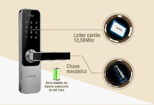 Fechadura Digital Senha Cartão Tag Acesso