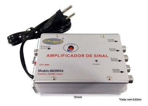 2pcs Amplificador Sinal 1x4 Saidas 20db Tv Cabo Digital Novo