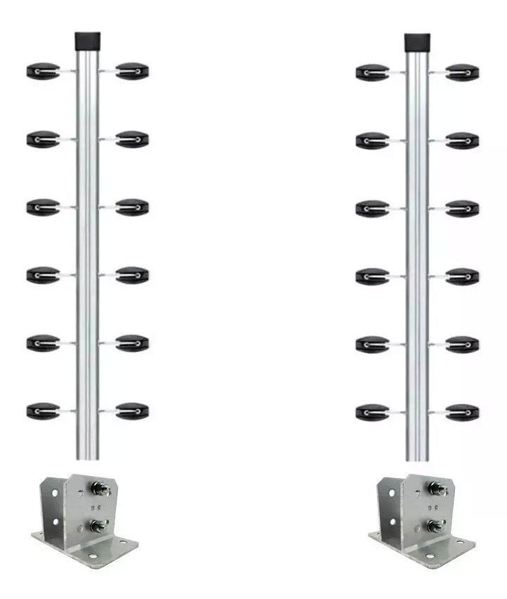 2pcs Haste Canto Cerca Industrial 25x25 Aluminio 1m + Sapata