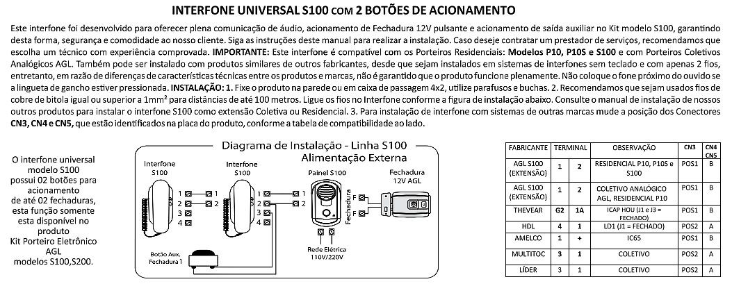 2pcs Interfone Agl Gancho S100 Compativel Thevear Hdl Amelco