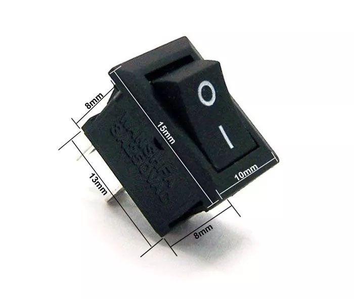 300pcs Mini Chave Gangorra 2 Posições 2 Pinos Preta Kcd11101