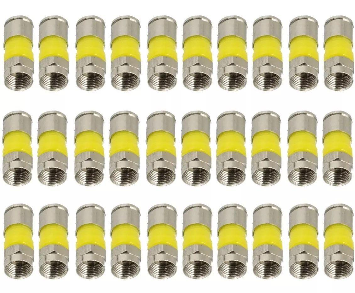 30pcs Conector De Compressão Rg06 Para Cabo Coaxial