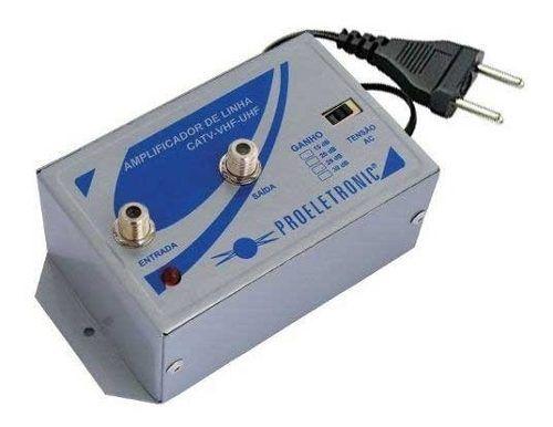 Amplificador Sinal Proeletronic 30db Tv Hdtv Catv Uhf Vhf