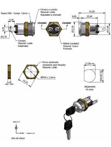 Chave Miolo Pacri Elétrica 02 Posições Com 02 Chaves Fy-510