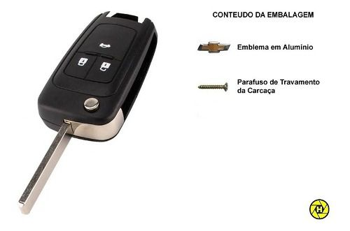 3pcs Carcaca Chave Canivete Gm Cruze Cobalt Prisma Onix Etc