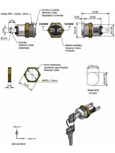 3pcs Chave Miolo Pacri Elétrica Com Mola Com 02 Chaves Fy525