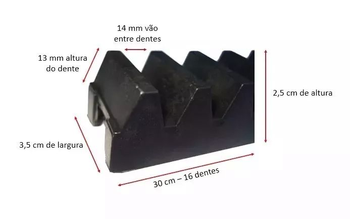 3pcs Gomo Peccinin Cremalheira Industrial Nylon Motor Dz Max 30cm 3 Unidades Com 30cm Total 0,90cm
