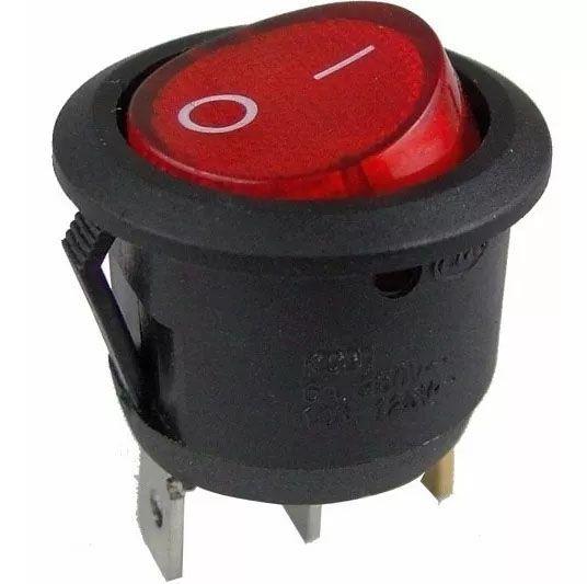 40pcs Chave Gangorra Luz Neon Vermelha 2 Posições Kcd1 102n