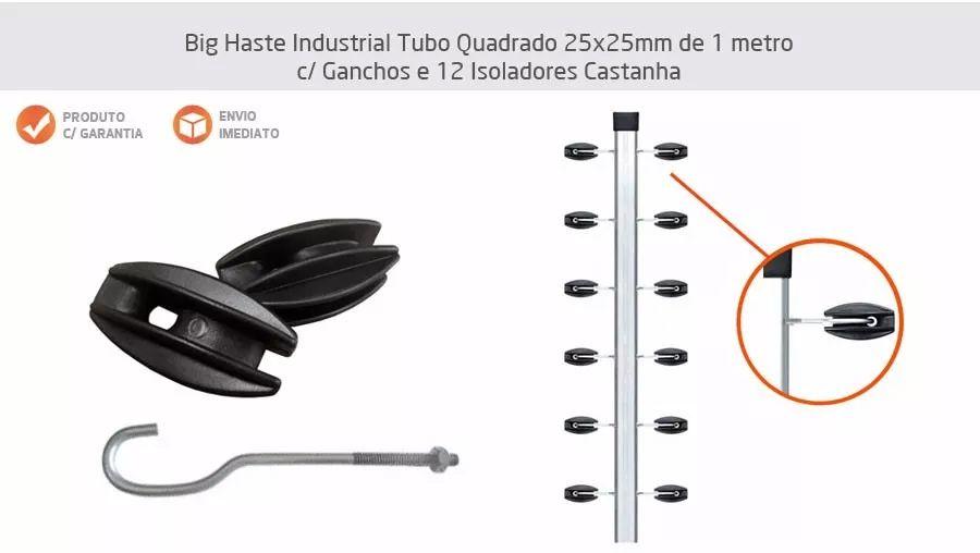 4pcs Haste Canto Cerca Elétrica 25x25 Aluminio 1m + Suporte