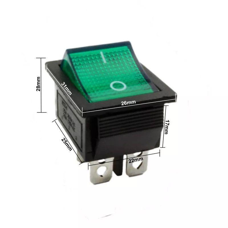 50pcs Chave Gangorra 2 Posições 4 Pinos Neon Verde Kcd4
