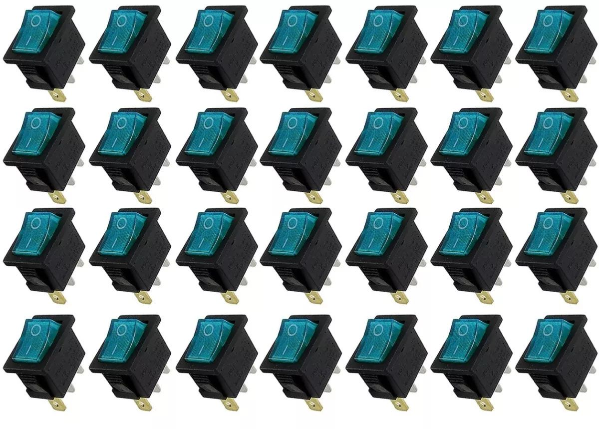 50pcs Chave Gangorra Luz Neon Azul 2 Posições Kcd1 102n