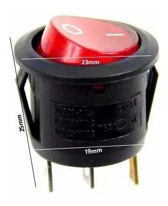 50pcs Chave Gangorra Luz Neon Vermelha 2 Posições Kcd1 102n