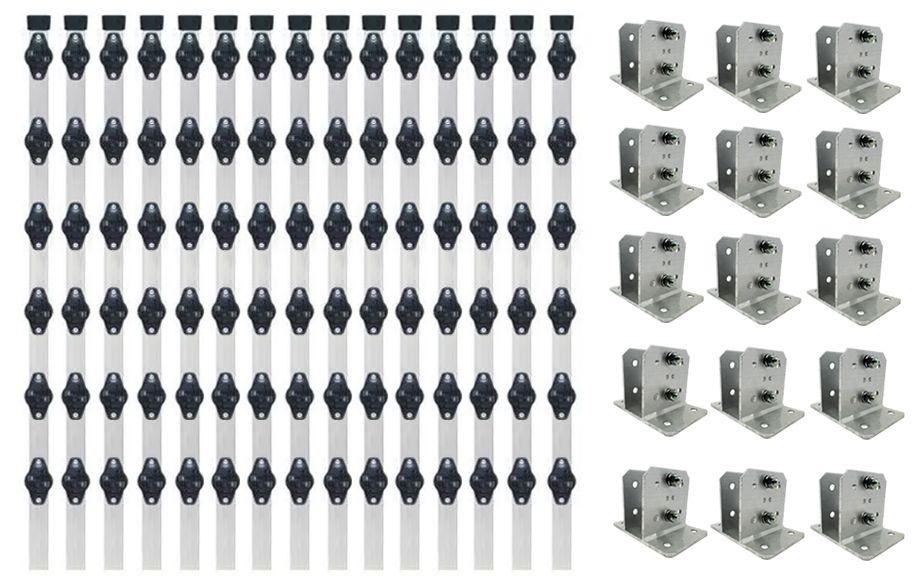 50pcs Haste Cerca Elétrica 23x23 1mt Industrial + Suporte