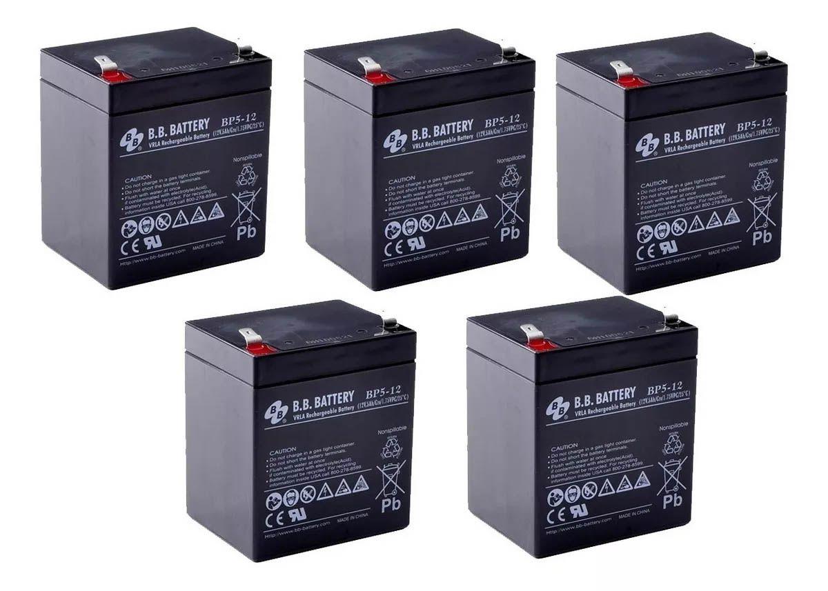 5pcs Bateria 12v 5ah Bb Battery Nobreak Sms Apc Bp5-12