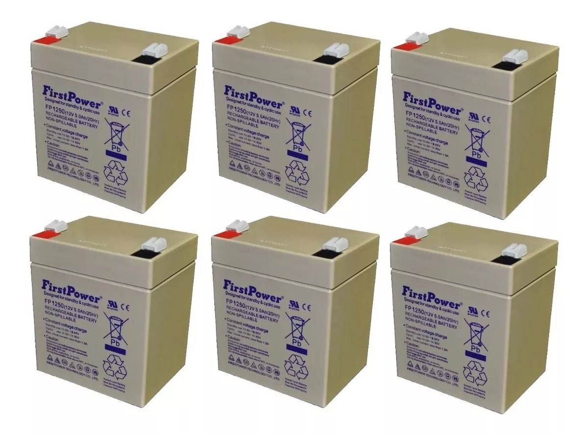6pcs Bateria 12v 5ah First Power Fp1250 Nobreak Sms Apc