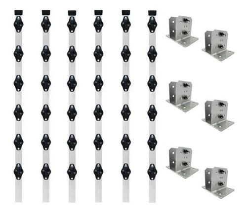 6pcs Haste Cerca Elétrica 23x23 1mt Industrial + Suporte