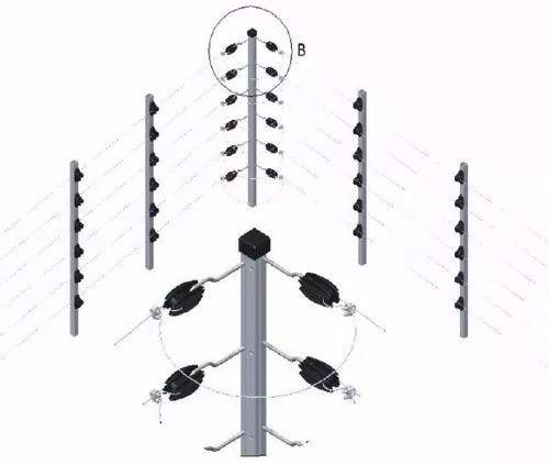 8pcs Haste Cerca Elétrica 23x23 1mt 6 Isoladores Industrial