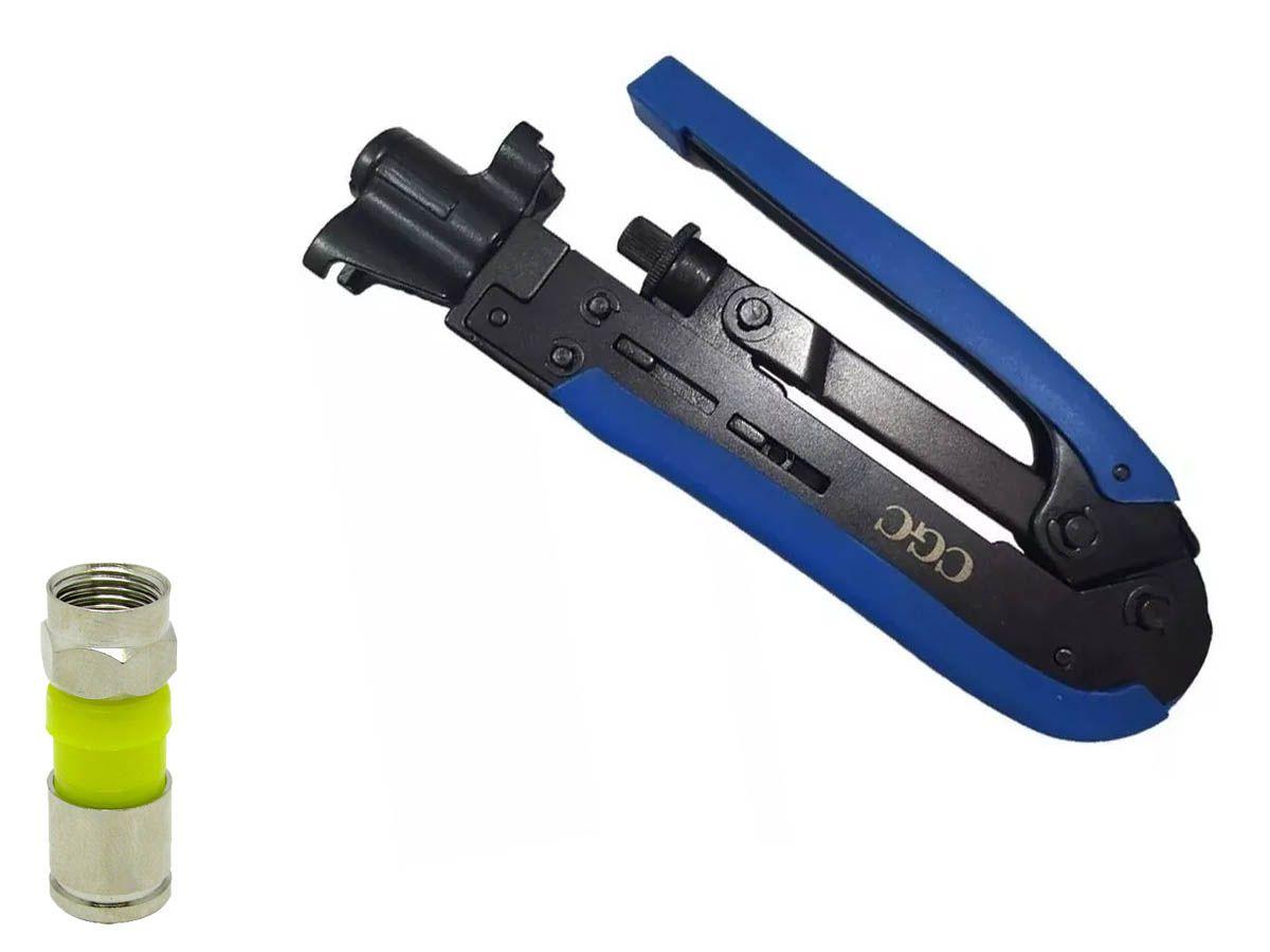 Alicate Azul Mais 25 Conectores Rg06 Compressão Crimpar