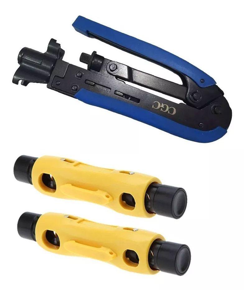 Alicate Crimpar Conector Rg6 Rg59 Coaxial + 2 Decapadores
