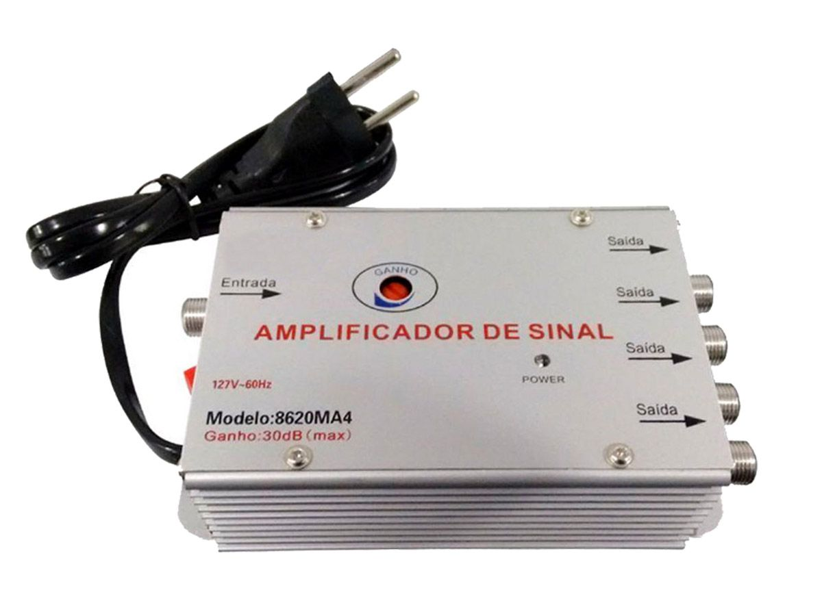 Amplificador Sinal 1x2 20db Com Regulagem Novo Nota Fiscal