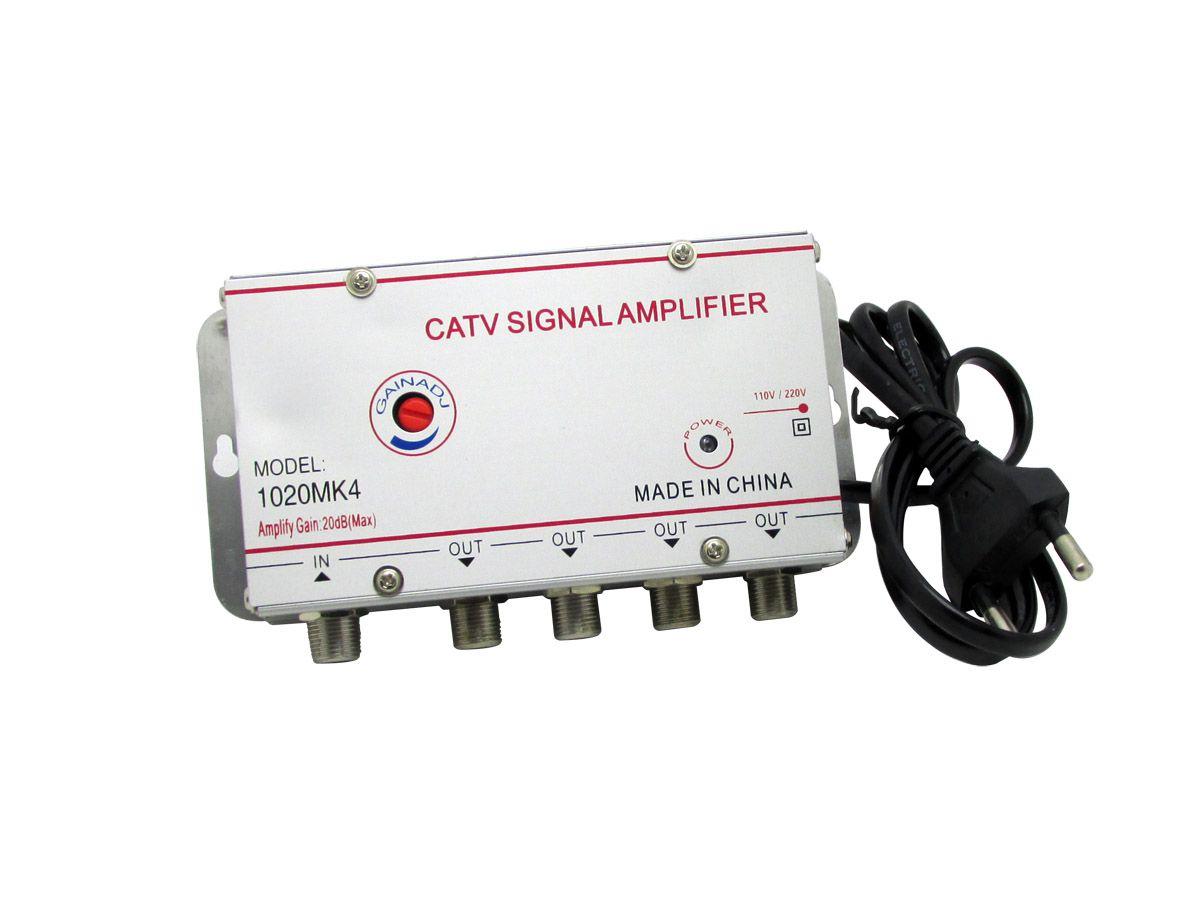 Amplificador Sinal 1x4 Saidas 20db Regulagem Tv Cabo Digital