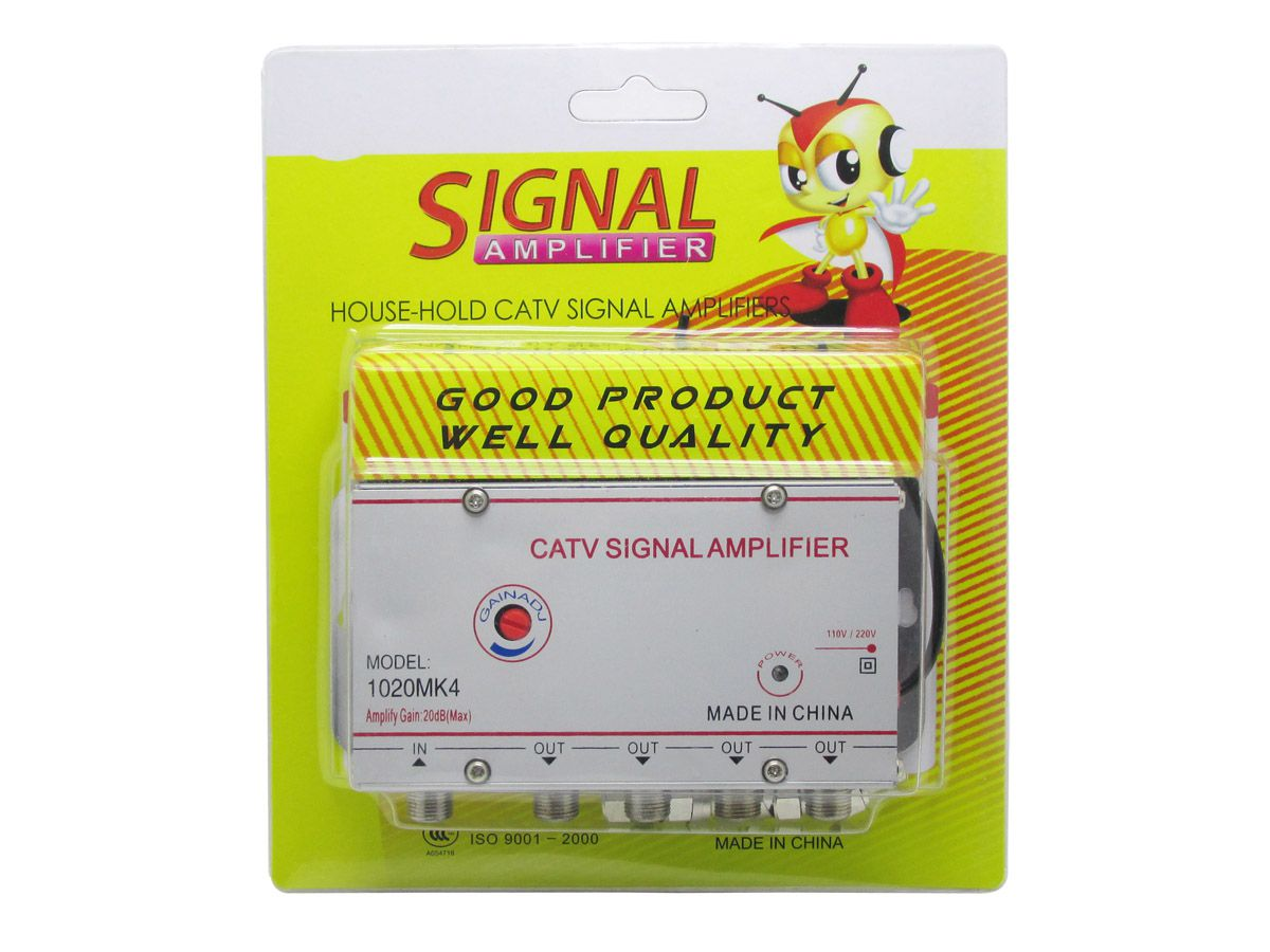 Amplificador Sinal 1x4 Saidas 20db Regulagem Tv Cabo Digital