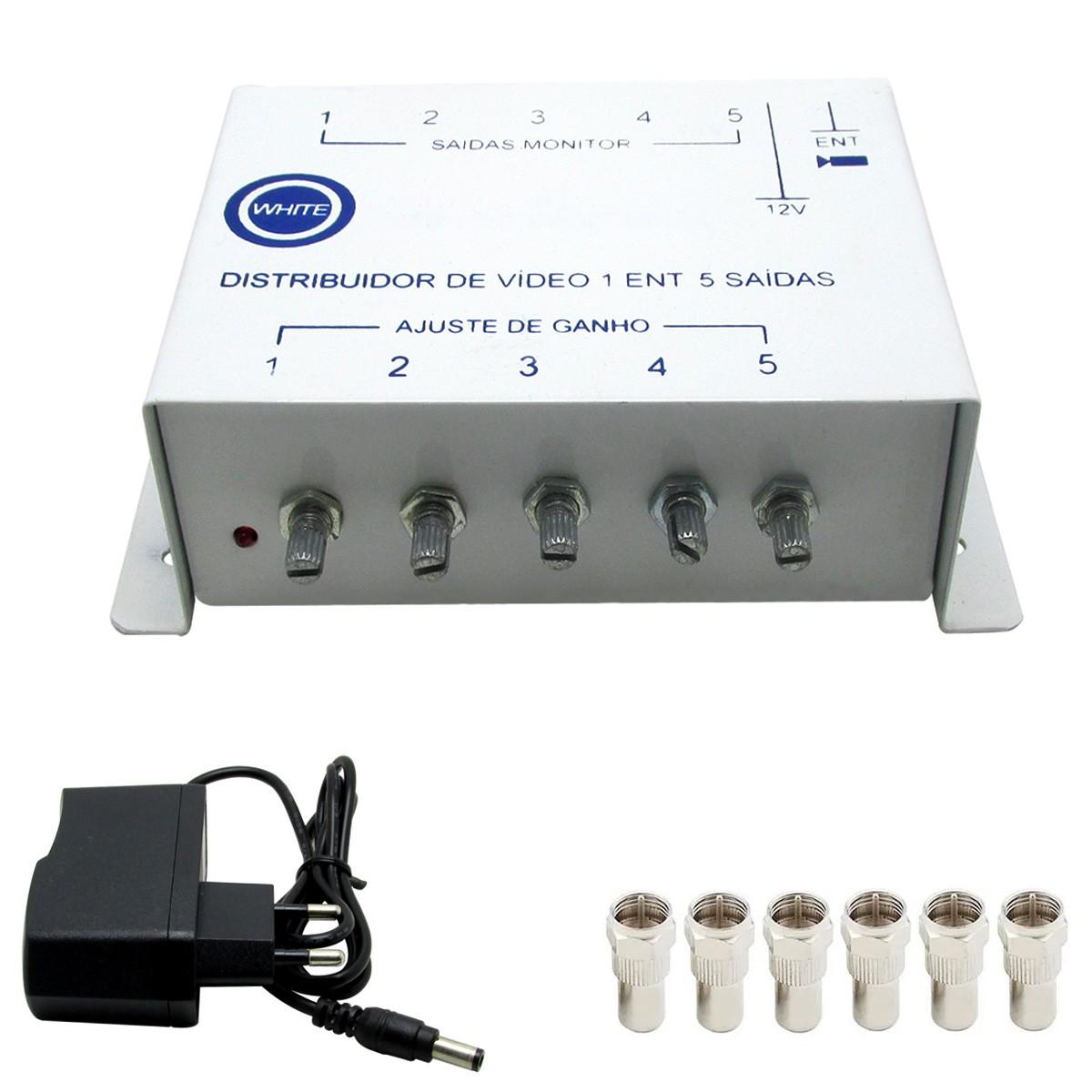 Amplificador Sinal Video Camera Cftv 5 Saidas Com Conectores