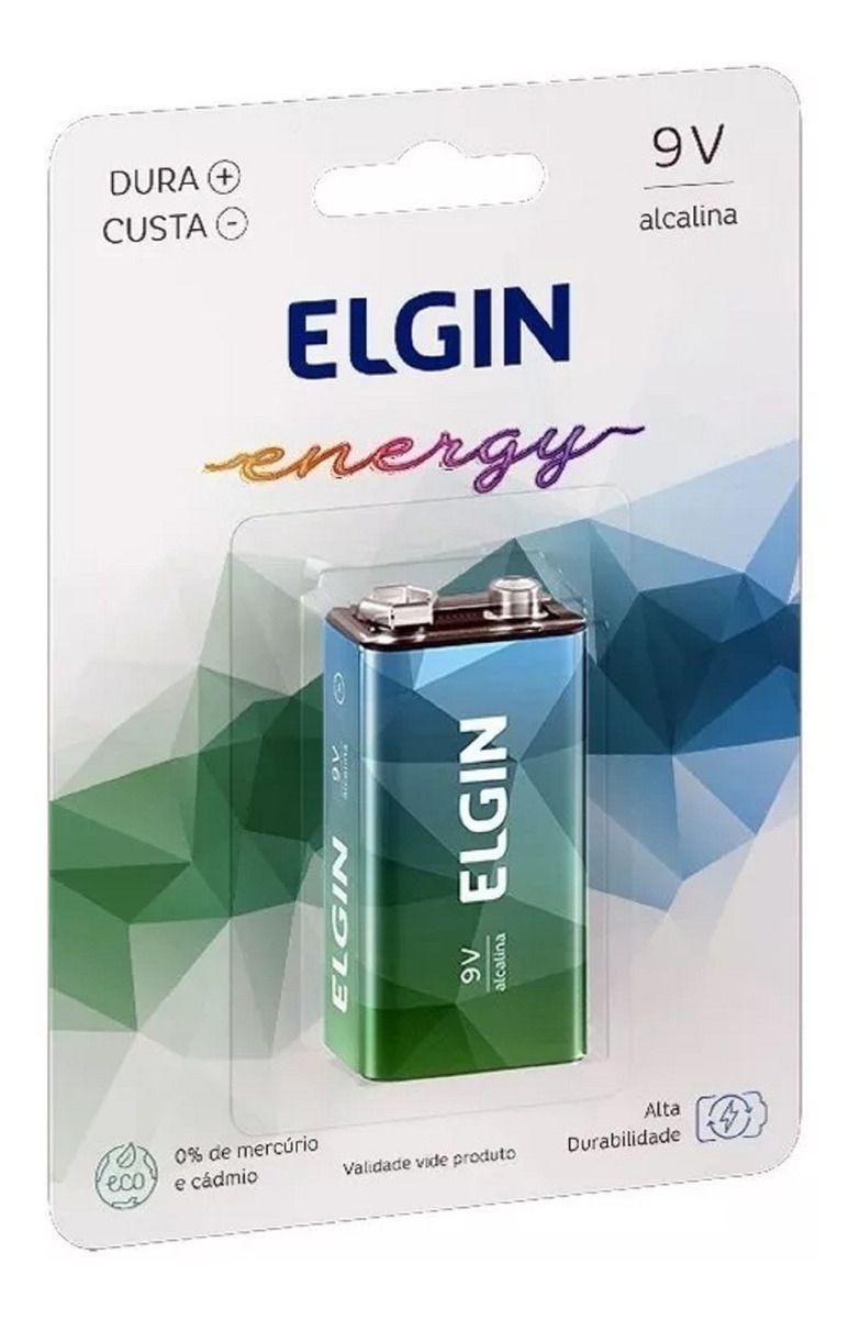 Bateria 9 volts Elgin Cartela Alcalina
