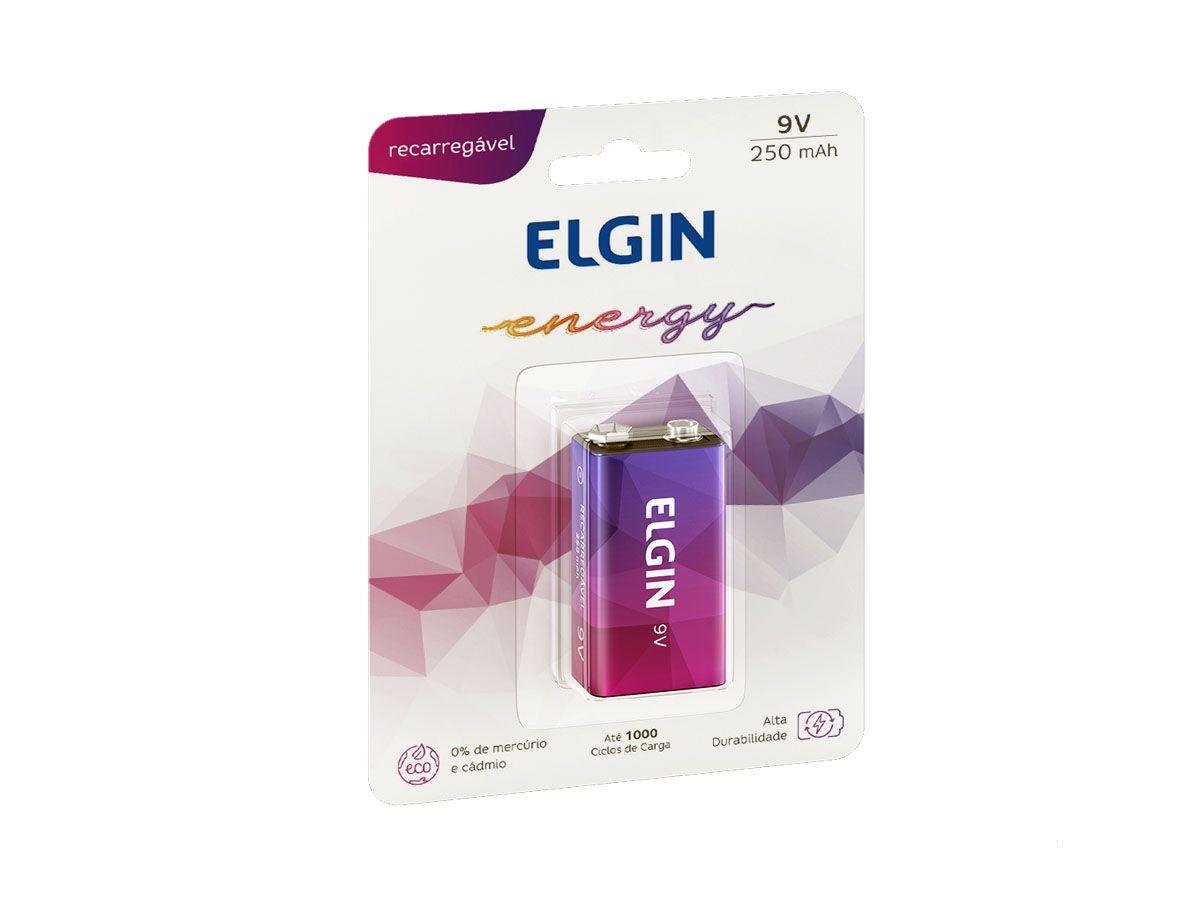 Bateria Pilha Elgin 9v Recarregavel 250mah Original Blister