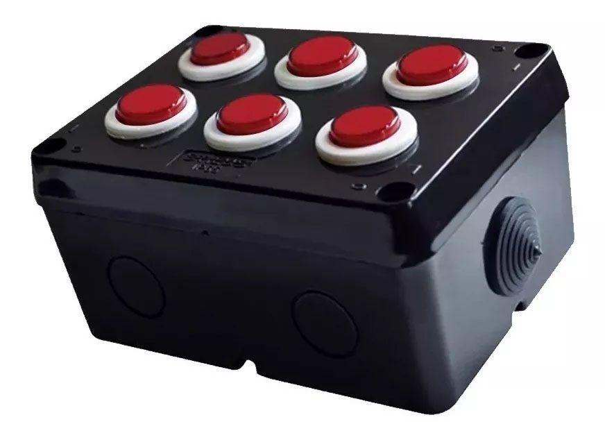 Botoeira Botão De Comando 6 Botões Vermelho Stilus Alarme Fechadura