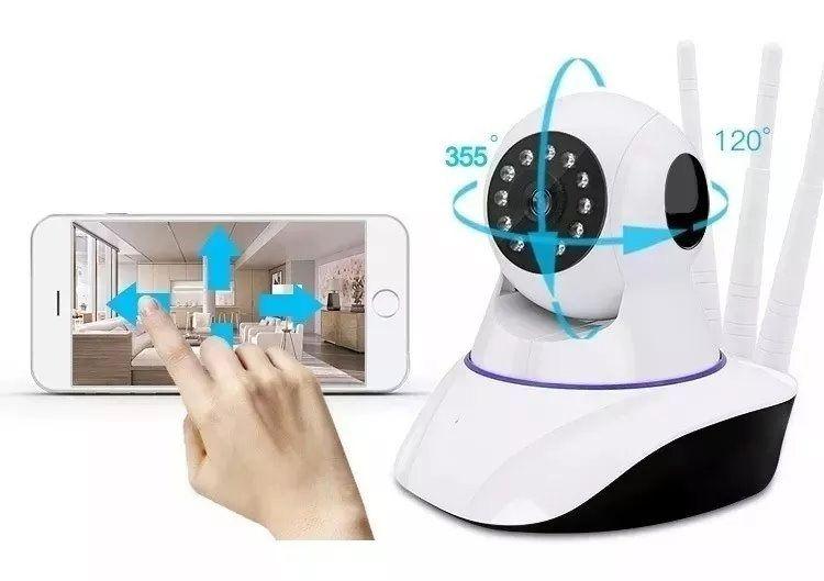 Câmera Ip Top Cam Panorâmica Segurança  Com 3 Antenas Wifi Hd 720P