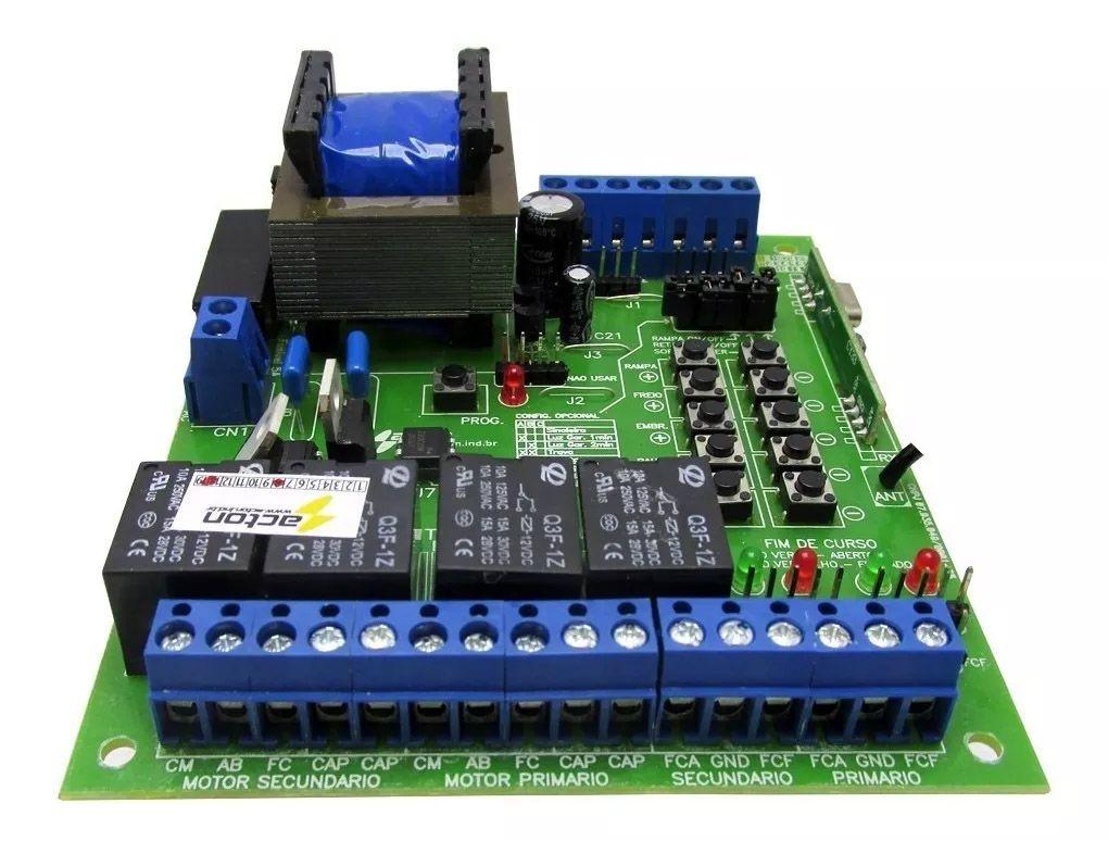 Central Portao Automatico Dupla Acton + 2 Capacitores + Tx