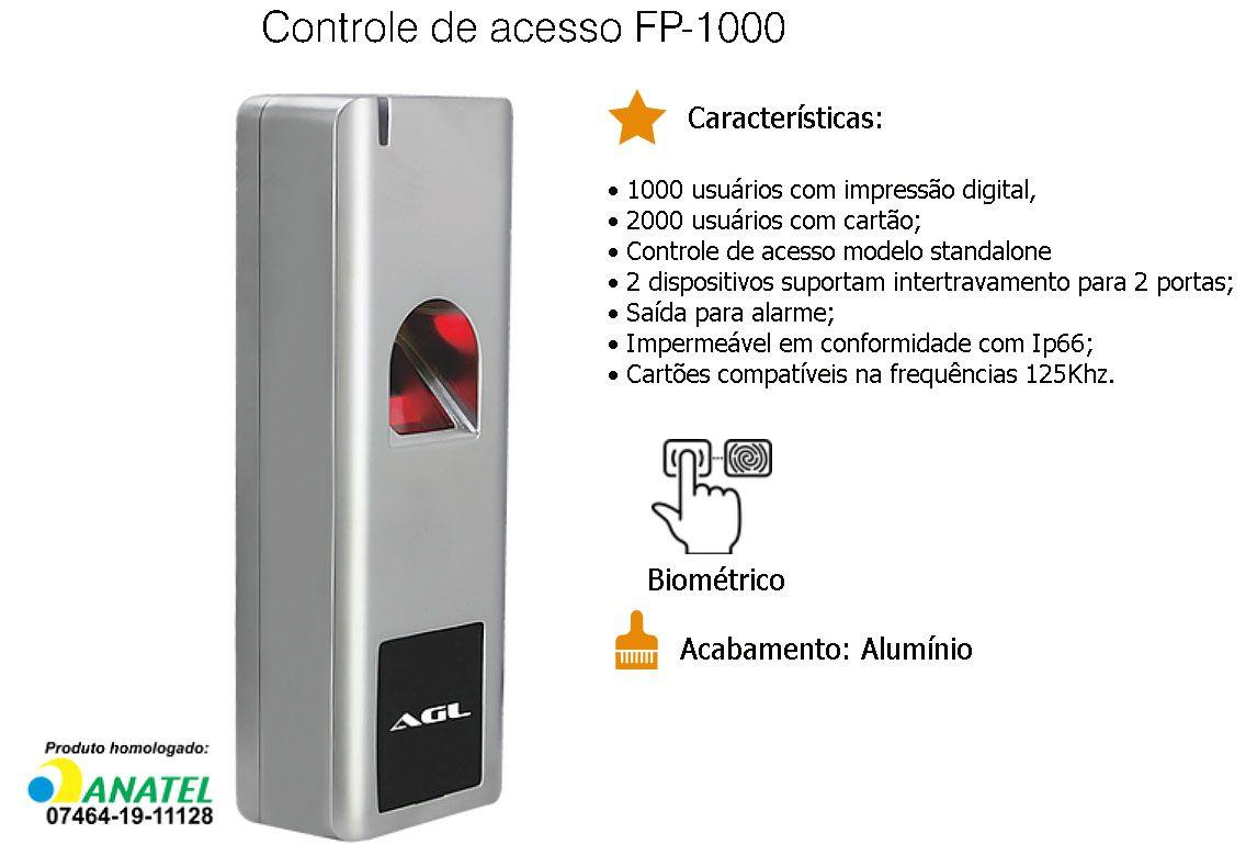 Controle de Acesso Biométrico Agl FP-1000 Fechadura Eletrônica