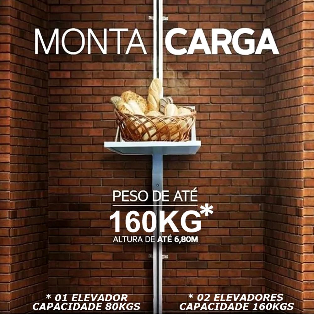 Elevador De Carga Rossi 3,00mts 80kgs 220v Fast Monta Carga Restaurante Monta Prato e Bandeja