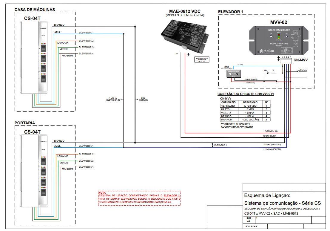 Interfone Elevador Intercomunicador Monofone Cs04t Aztlan