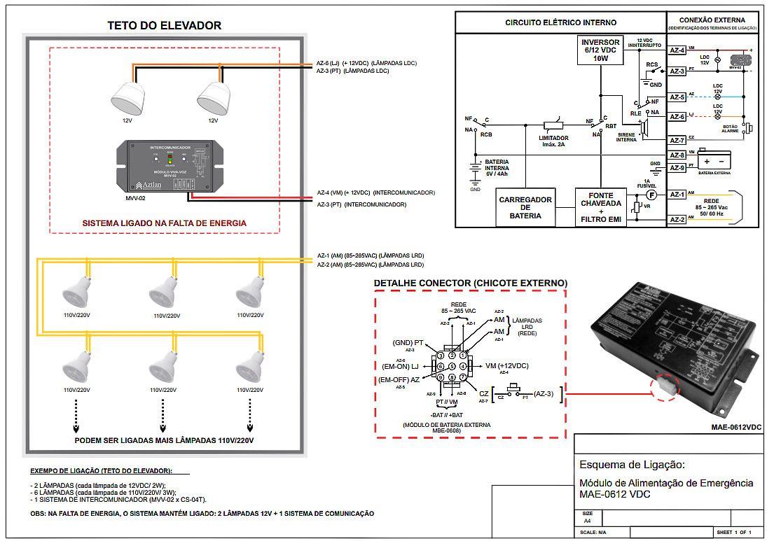 Interfone Fonte Elevador Bateria Interna Mae612 Aztlan