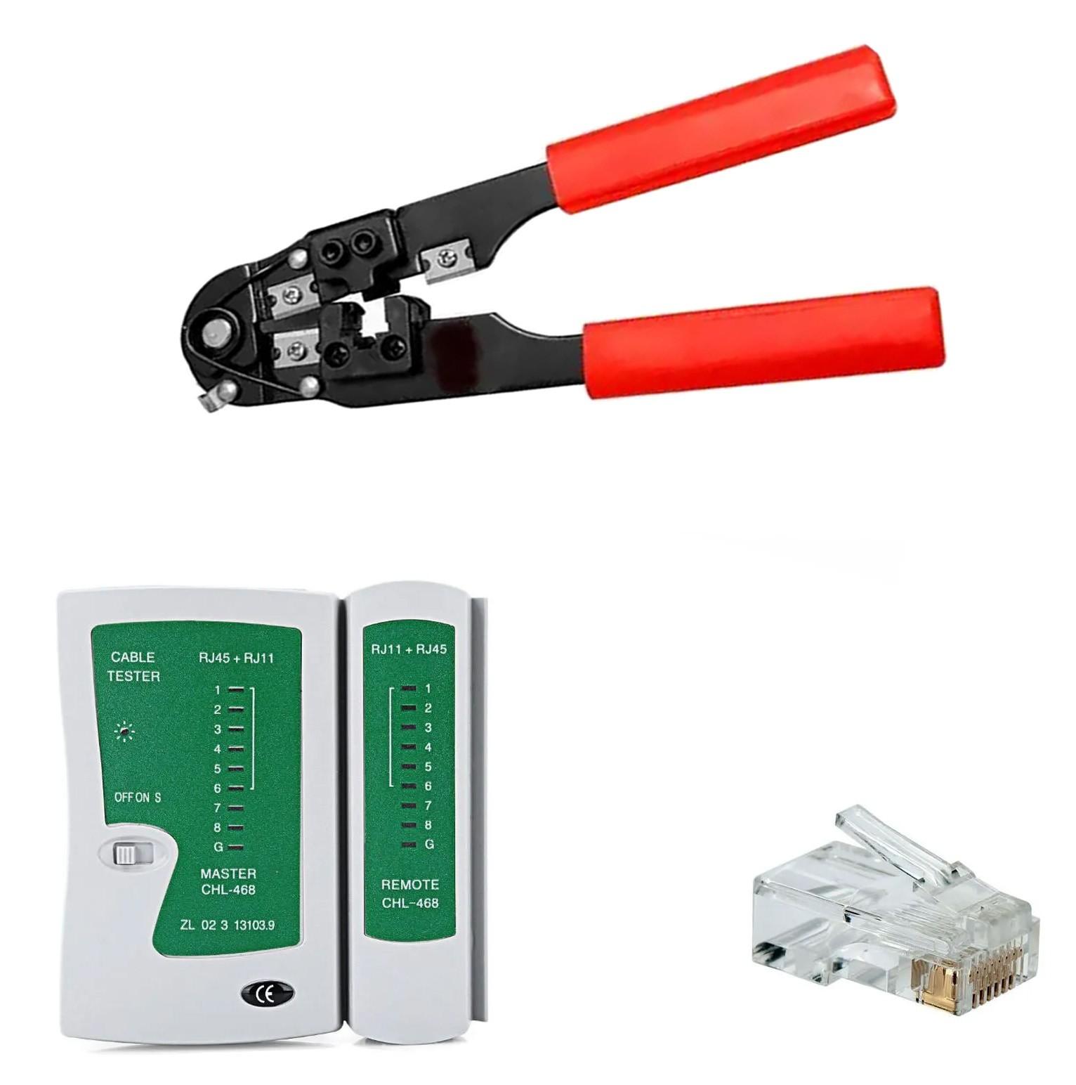 Kit 01 Alicate Rj45 Mais 1 Teste De Cabos Mais 100 Plugs