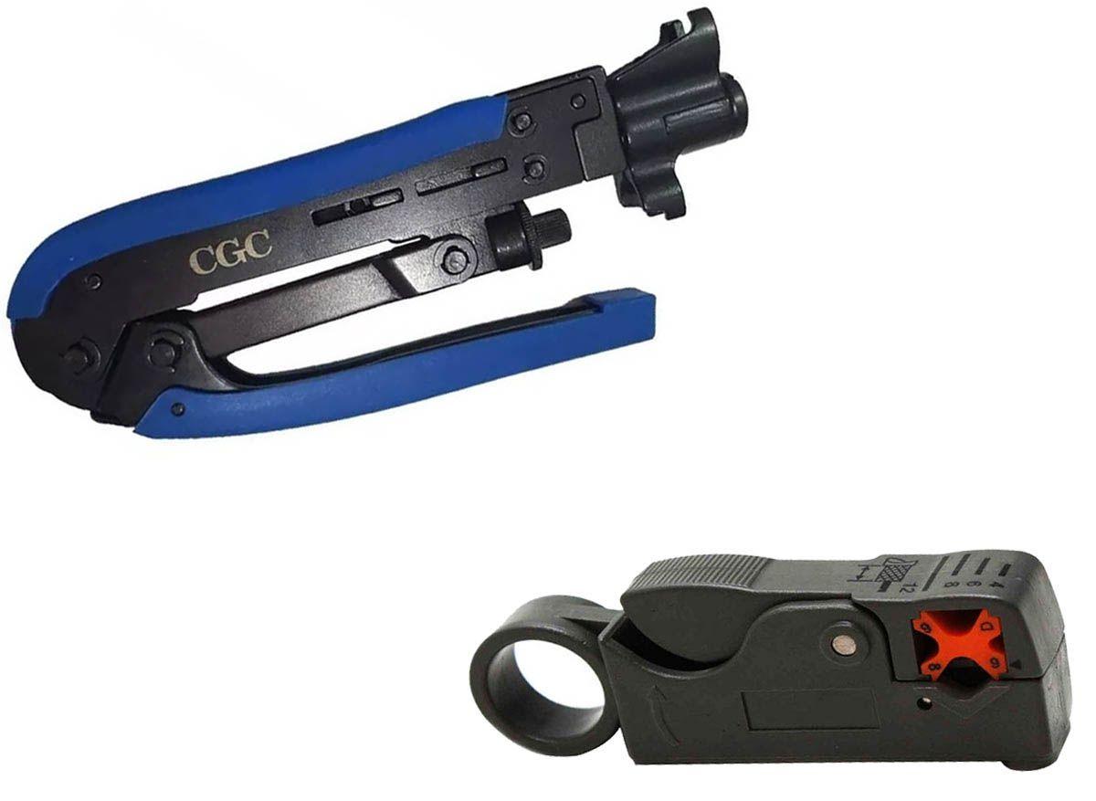 Kit Alicate Crimpar Mais 1 Alicate Decapador Cinza Rg59 Rg6