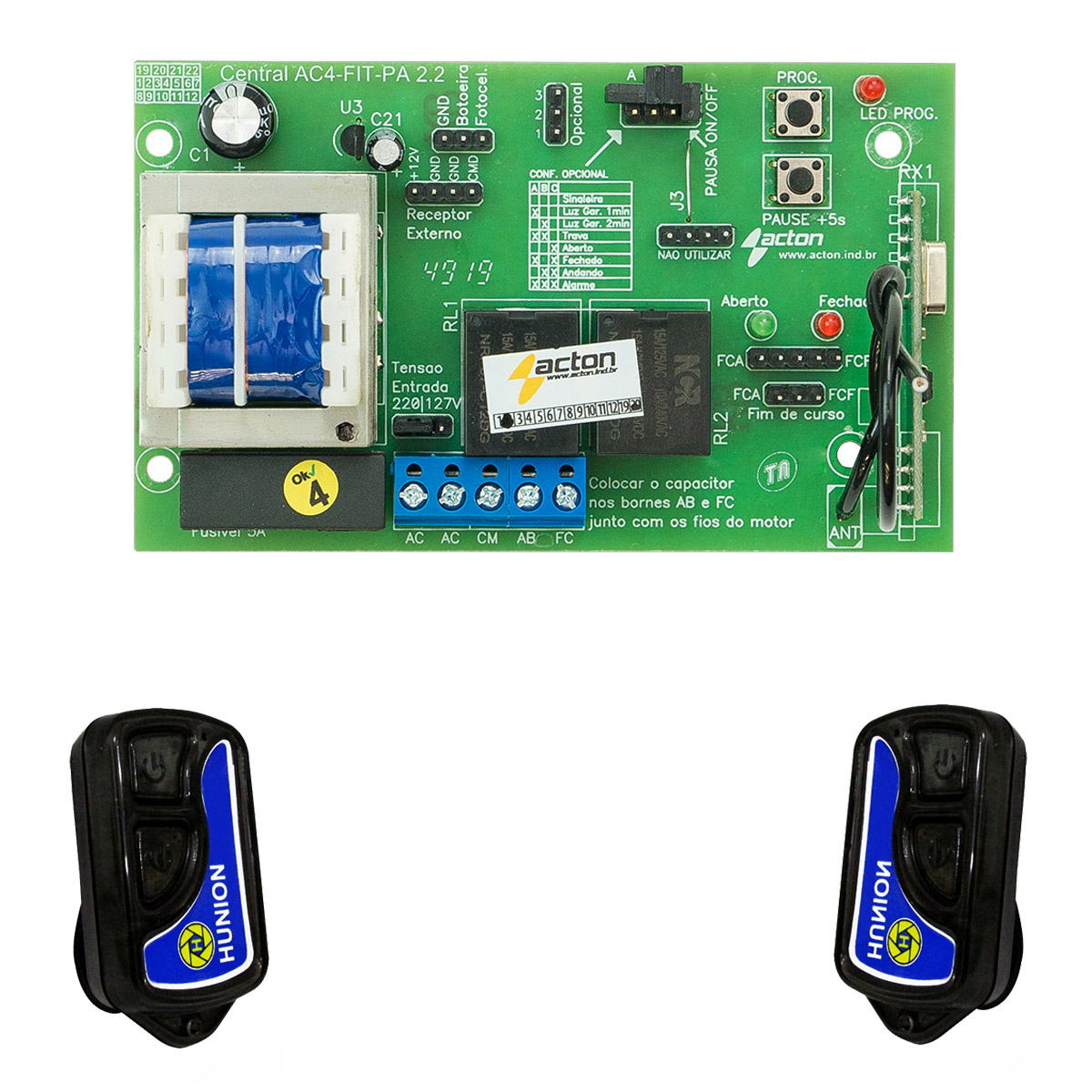 Kit Central Placa Comando Portão Automático E 2 Controles