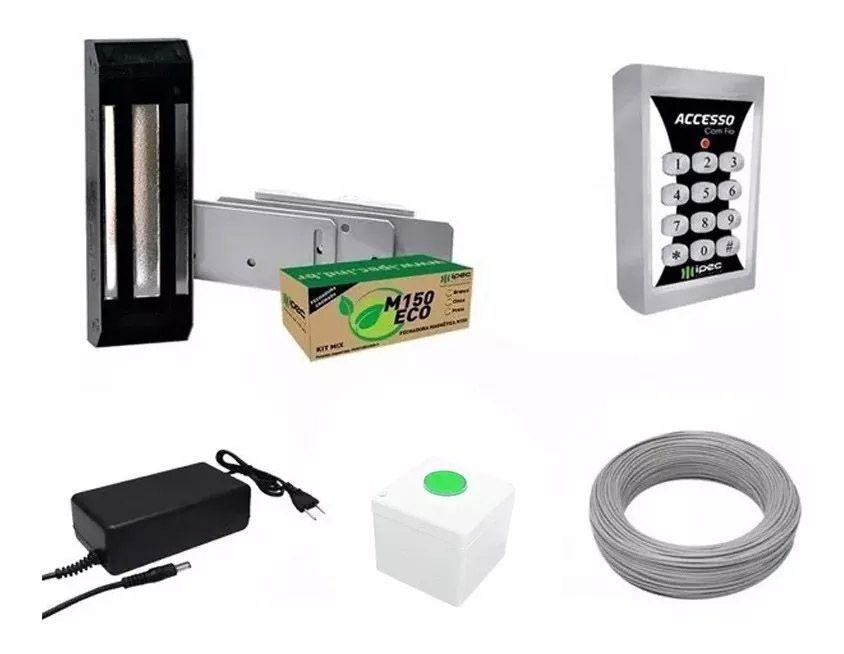 Kit Fechadura Magnética Eletroímã Teclado De Senha E Acesso