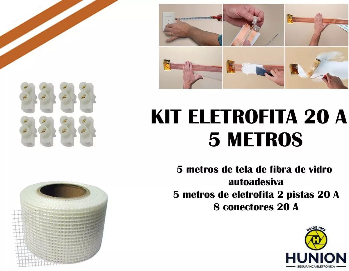 Kit Fita Elétrica Eletrofita 2 Pistas 5 Metros 750v/20amp