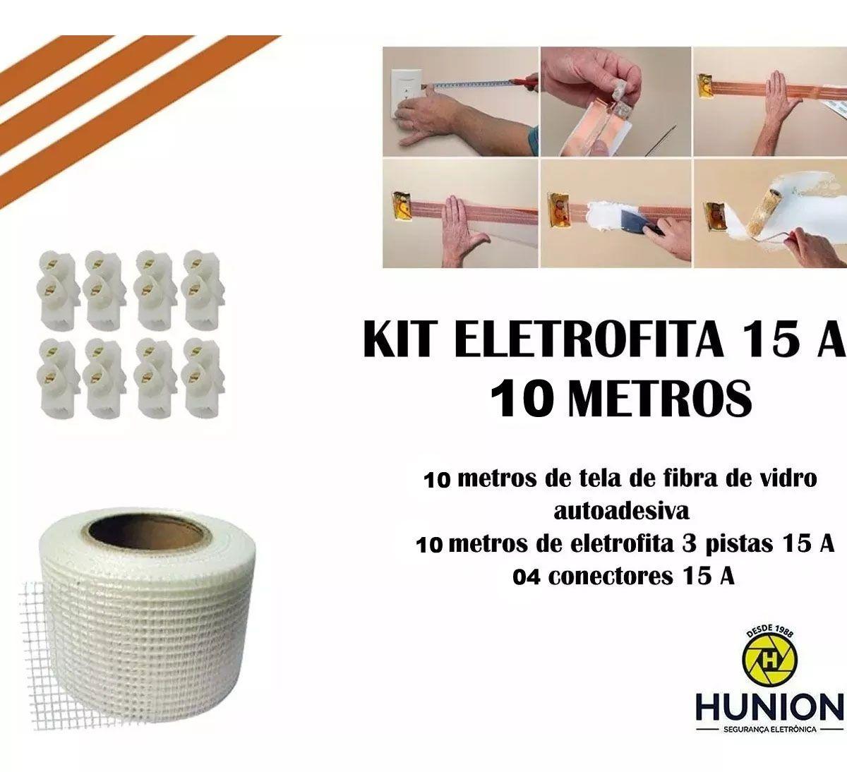 Kit Fita Elétrica Eletrofita 3 Pistas 10 Metros 750v/15amp