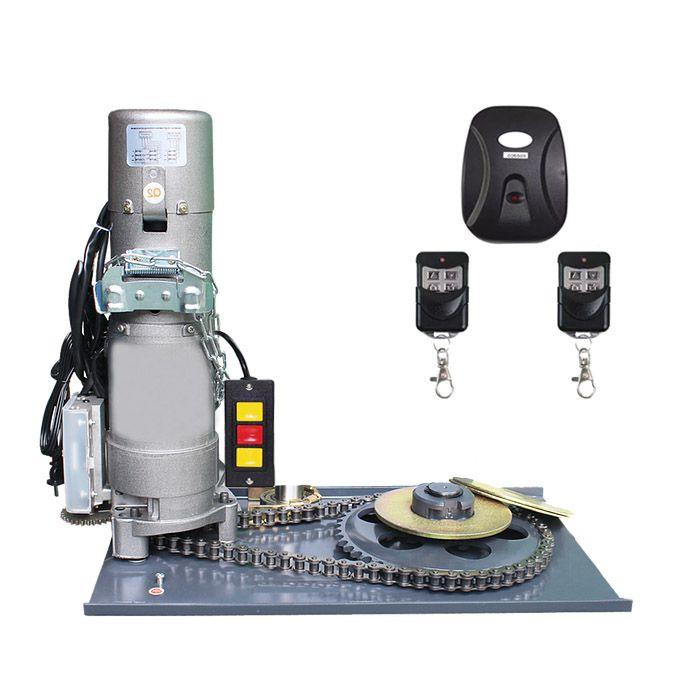 Kit Motor Porta De Enrolar Portas Aco Até 600kgs Receptor e 02 Controles