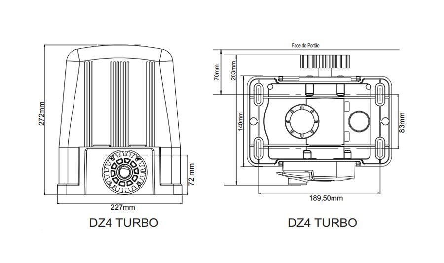 Kit Motor Portão Deslizante Rossi Dz4turbo 02 Controles 220v