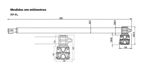 Kit Motor Rossi Pivotante 220v 500mm Duplo 2 Folhas Até 2,30
