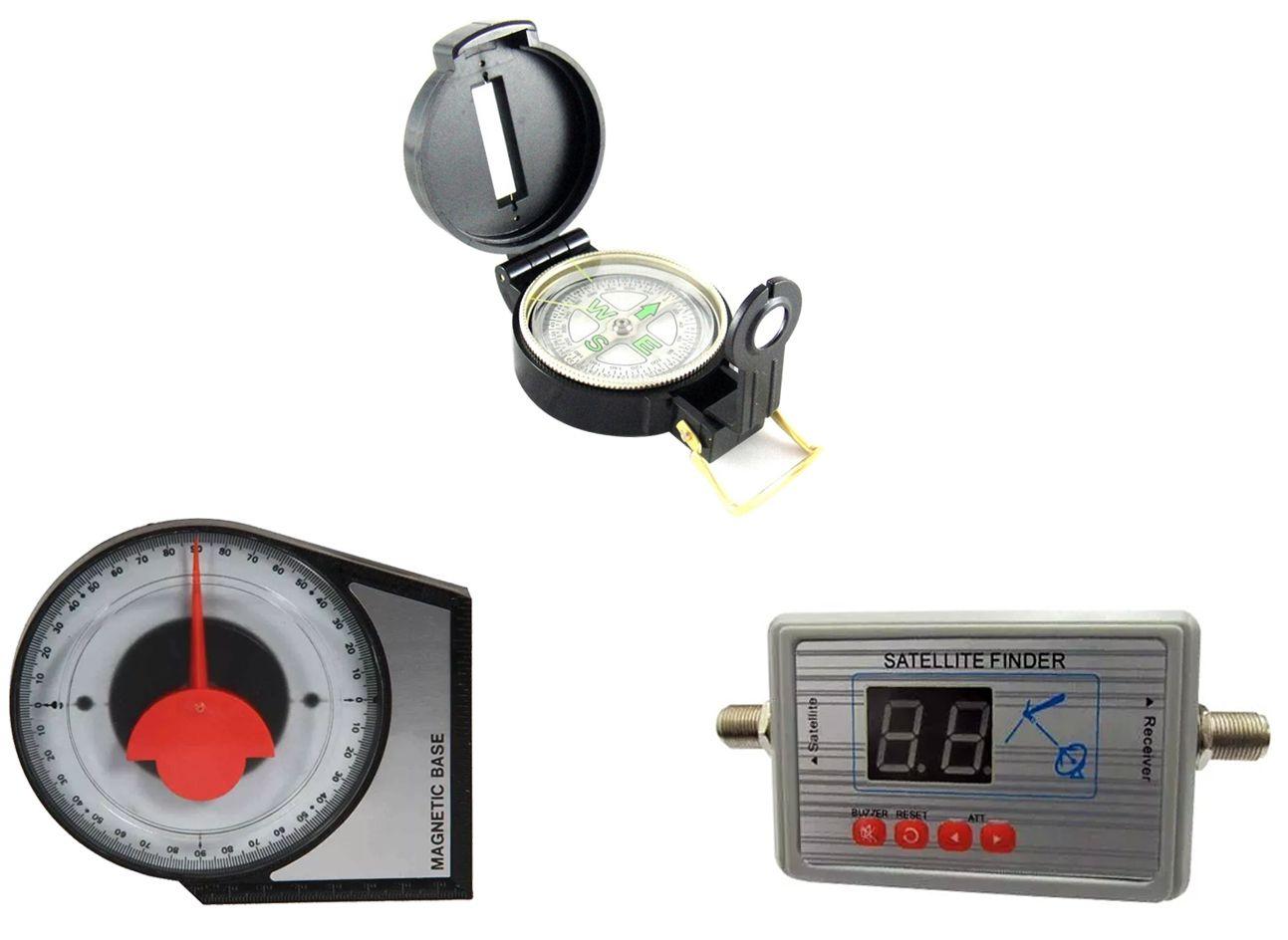 Kit Satelite Finder Medidor Digital Bussola Inclinometro