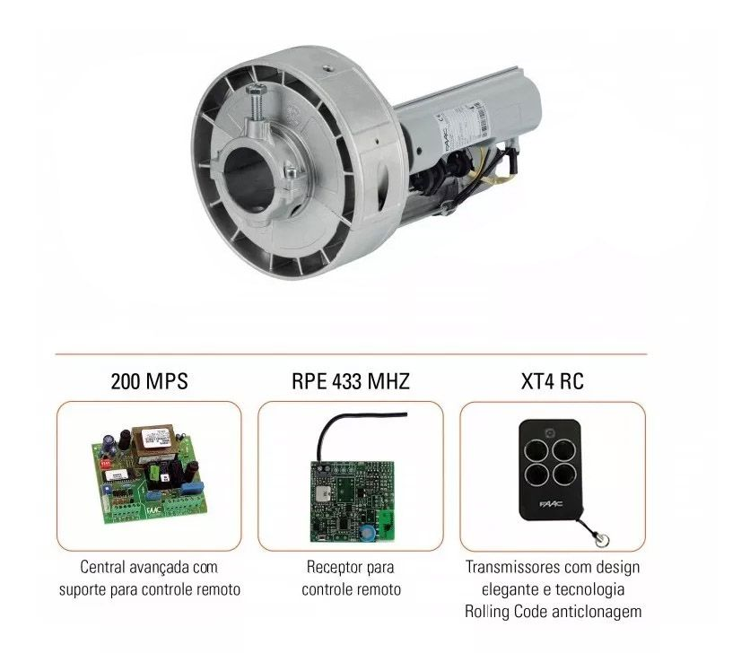 Motor Automatizador Porta De Enrolar Faac Rossi Rl200 Com Dois Controles - Caixa Plástica E Receptor