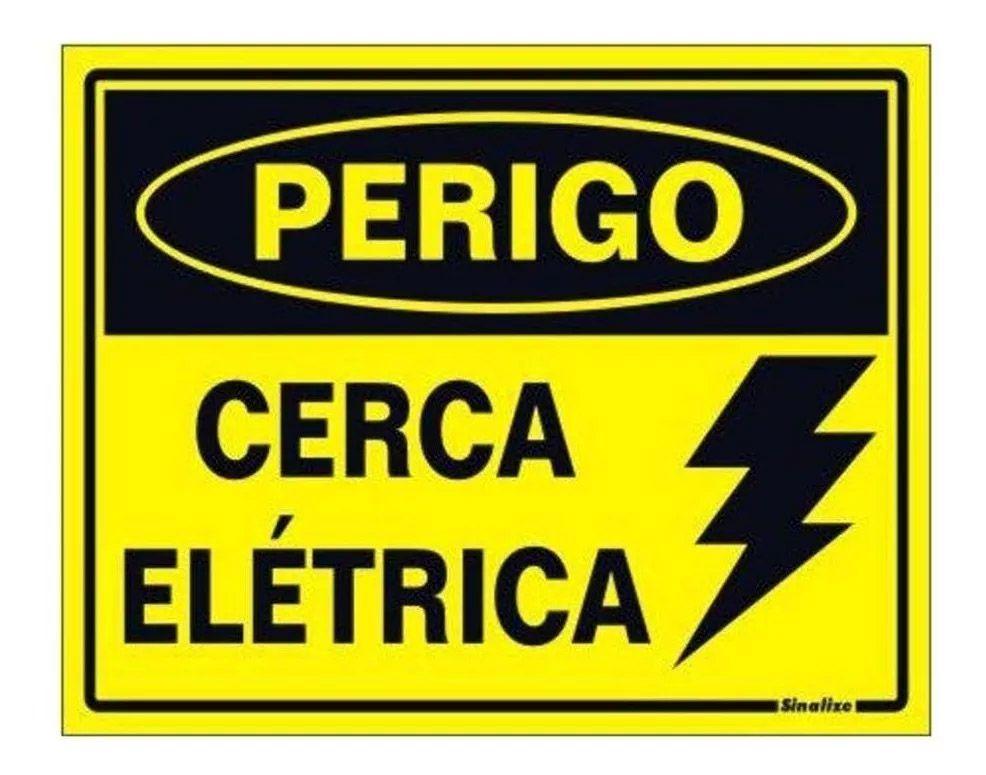 Placa Cuidado Cerca Elétrica Advertencia Nova
